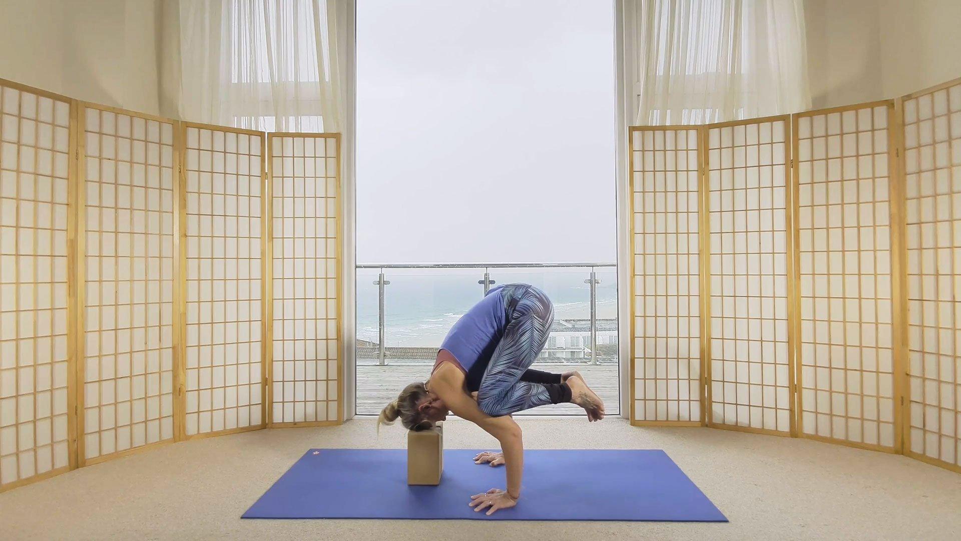flow yoga online on demand crow pose