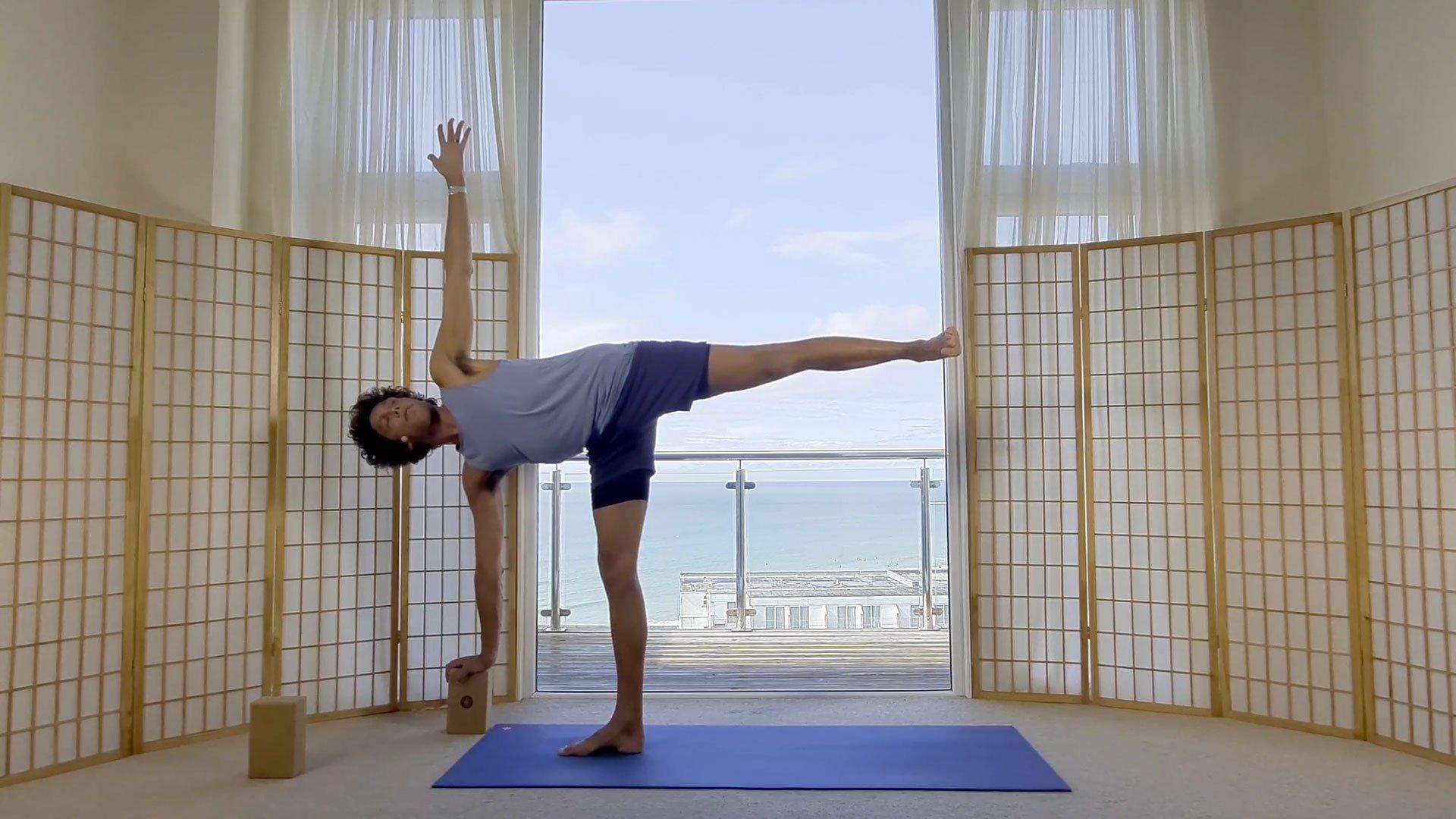 foundation beginners yoga online on demand class half moon